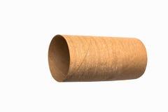 Rollo vacío aislado del papel higiénico Fotos de archivo