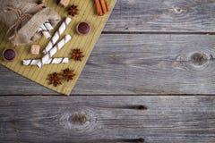 Rollos de las obleas, caramelos del caramelo y azúcar dulces Visión superior Fotografía de archivo libre de regalías