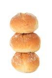 Rollos de pan en el fondo blanco Imagenes de archivo
