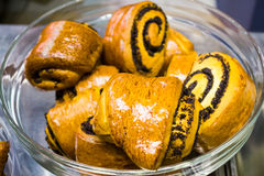 Rollos de pan fresco deliciosos Fotografía de archivo