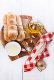 Rollos de pan recientemente cocidos de Pane Di Casa Foto de archivo