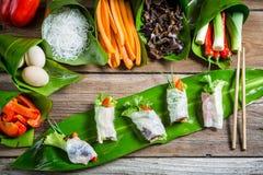 Rollos de primavera frescos con las verduras y los tallarines de arroz Fotos de archivo libres de regalías