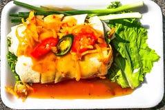 Rollos de primavera frescos del pollo con la salsa de ciruelo dulce en cierre para arriba imagen de archivo