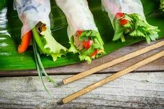 Rollos de primavera frescos envueltos en papel de arroz Imagen de archivo libre de regalías