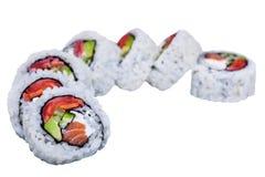 Rollos de sushi aislados en blanco Fotografía de archivo libre de regalías
