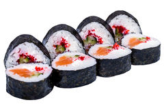 Rollos de sushi aislados en blanco Imágenes de archivo libres de regalías