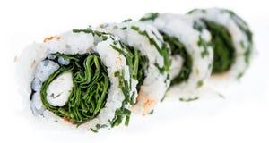 Rollos de sushi aislados en el fondo blanco Foto de archivo
