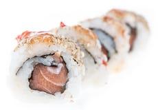 Rollos de sushi aislados en el fondo blanco Fotos de archivo