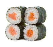 Rollos de sushi aislados en un blanco Foto de archivo