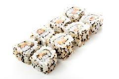 Rollos de sushi aislados, fondo blanco Foto de archivo libre de regalías