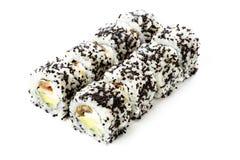 Rollos de sushi aislados, fondo blanco Imágenes de archivo libres de regalías