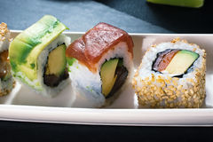 Rollos de sushi del detalle Imágenes de archivo libres de regalías