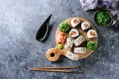 Rollos de sushi fijados Foto de archivo libre de regalías