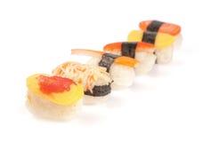 Rollos de sushi fijados Fotografía de archivo