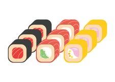 Rollos de sushi fijados Imagenes de archivo