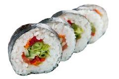 Rollos de sushi japoneses en el fondo blanco Imágenes de archivo libres de regalías
