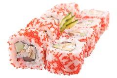 Rollos de sushi japoneses en el fondo blanco Imagenes de archivo