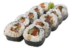 Rollos de sushi japoneses en el fondo blanco Imagen de archivo