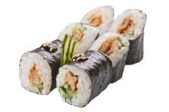 Rollos de sushi japoneses en el fondo blanco Fotografía de archivo libre de regalías