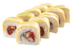 Rollos de sushi japoneses en el fondo blanco Fotos de archivo