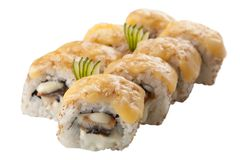 Rollos de sushi japoneses en el fondo blanco Imagen de archivo libre de regalías