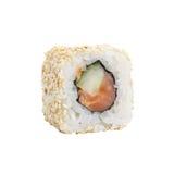 Rollos de sushi japoneses frescos en un fondo blanco Imagen de archivo