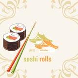 Rollos de sushi y palillos. Etiqueta para el diseño Imagen de archivo