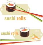 Rollos de sushi y palillos. Iconos para el diseño del menú Imágenes de archivo libres de regalías