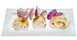 Rollos deliciosos del pollo rellenos Imagen de archivo
