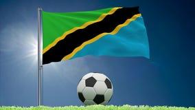 Rollos el agitar y del fútbol de la bandera de Tanzania libre illustration
