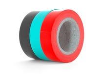 Rollos negros, ciánicos, rojos de la cinta del aislamiento aislados en el fondo blanco Imagen de archivo libre de regalías