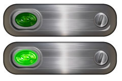 Rollover Button. Metal rollover button with green glassy light Stock Image