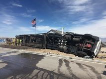 Rollover of car hauler semi. Car hauler rolled over while carrying six vehicles Royalty Free Stock Photo