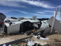 Rollover of car hauler semi. Car hauler rolled over while carrying six vehicles Stock Photos