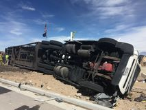 Rollover of car hauler semi. Car hauler rolled over while carrying six vehicles Stock Images