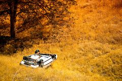 Rollover Crashed Car Stock Photography