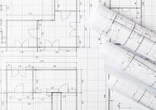 Rolls архитектурноакустических планов жилищного строительства светокопии на положении предпосылки светокопии плоском стоковые изображения rf