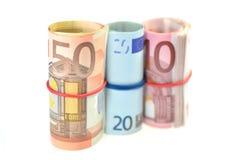Rolls банкнот евро Стоковое Фото