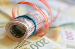Rolls денег в ленте подарка на счетах долларов и евро Стоковое Изображение RF