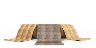 Rolls линолеума с деревянной иллюстрацией текстуры 3d на белизне Иллюстрация штока