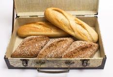 Rolls и багеты в коробке Стоковые Фото