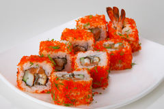 Rolls #17. Rolls with salmon, tuna, eel, shellfish, shrimp or crabmeat Stock Images