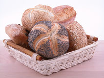 Rolls. Basket of fresh rolls - ready for breakfast stock images
