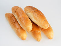 Rolls. Five french rolls on white Stock Image
