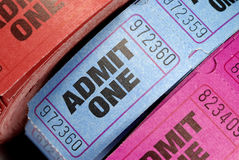 Rolls of admit one movie or cinema tickets closeup. Rolls of admission tickets close up Stock Photos