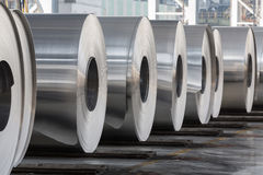 Rolls of aluminum close up Stock Image