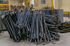 Rolls of aluminum metal fittings steel armature . Heavy industry production. Metal rolling plant Royalty Free Stock Photography