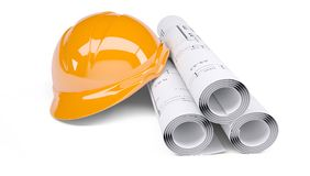 Rolls of architectural drawings and orange helmet. Rolls of architectural drawings and orange construction helmet. on white background