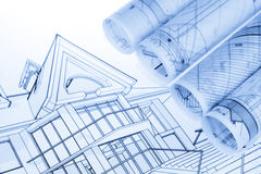 Rolls of architecture blueprints Stock Photo