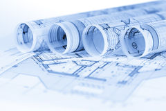 Rolls of architecture blueprints Royalty Free Stock Images
